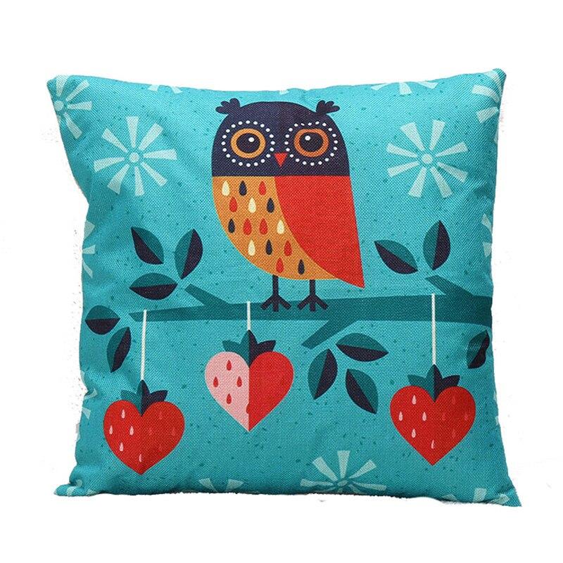 1PC Retro Cartoon animal pillowcase slip Colorful Owl&Snow Flake waist cushion case pillowslip cover square shape on sale