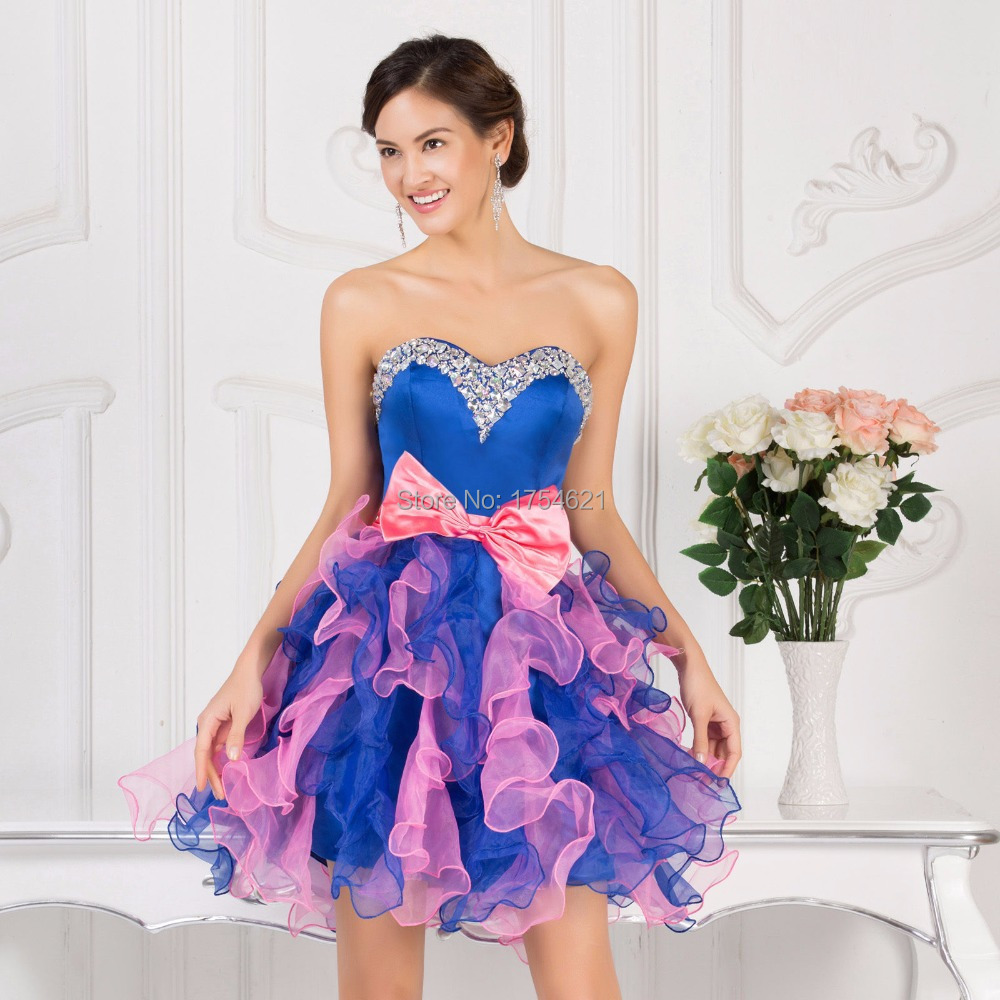 fd66087633c ball gown party dress short prom dresses royal blue pink prom dress vestido  de festa party dresses with bow organza crystal-in Prom Dresses from  Weddings ...