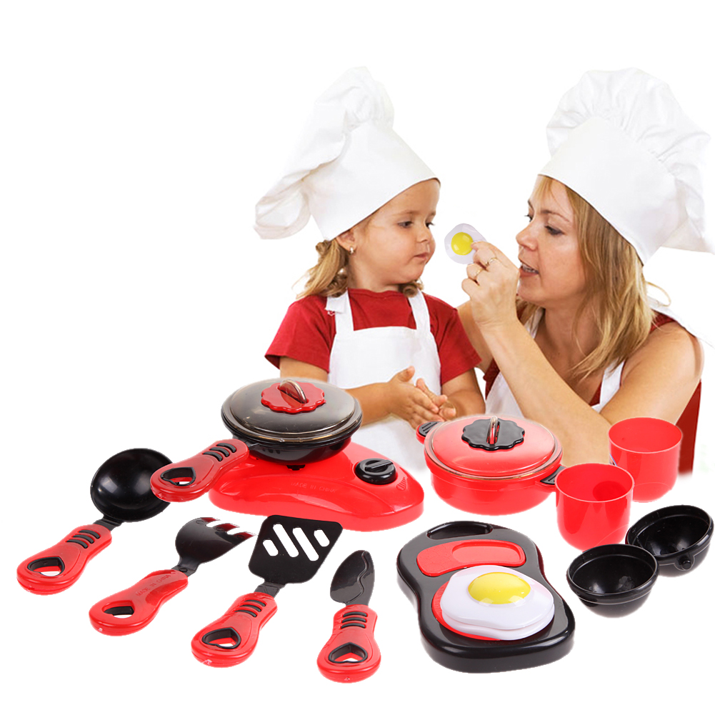 Kitchen Cooking Toy Children DIY Beauty Plastic Kitchen Toy Role Play Toy Set Children Pretend Play Educational Toys Red Pink