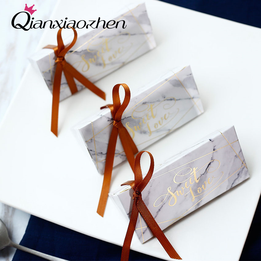 Qianxiaozhen 50pcs Triangle Marble Pattern Wedding Candy Boxes Favor Boxes Wedding Favors And Gifts Event & Party Supplies