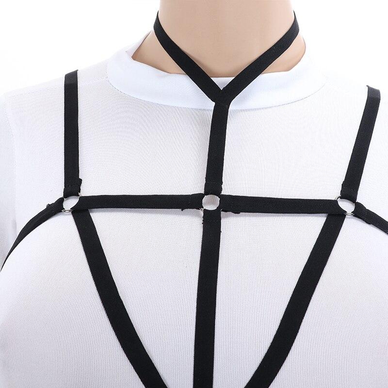 Women Body Harness Lingerie Goth Crop Tops Fetish Cage Bra Lingerie Harness Belt Star Harness Bra Suspenders Adjustable Size in Garters from Underwear Sleepwears