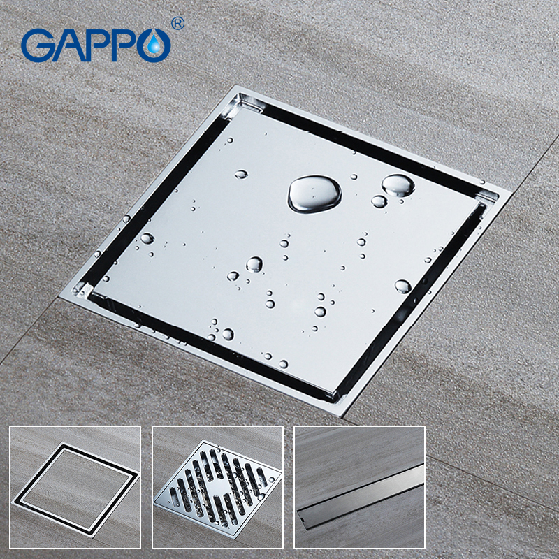 golden copper anti odor square bathroom accessories sink floor bathtub shower drain cover luxury sewer filter k 8803 GAPPO Drains square bathroom shower drain strainer anti-odor bath shower floor drains bathroom floor cover