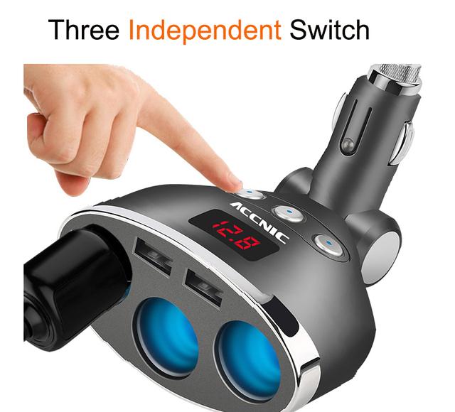 ACCNIC 5V 1A/2.4A Dual USB Car Cigarette Lighter Splitter Socket Adapter 120W LED Voltage Monitor Auto Car USB Plug Converter