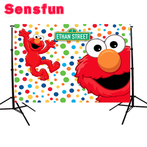 Image 3 - YH031 Sensfun Cartoon Red Elmo First Birthday background Photo backdrops Colorful Sesame Street Newborn Party Event Banner 7x5ft