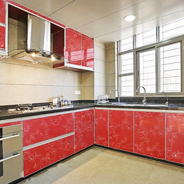 Yazi Brillant Rouge Pivoine Cuisine Placard Porte Couverture