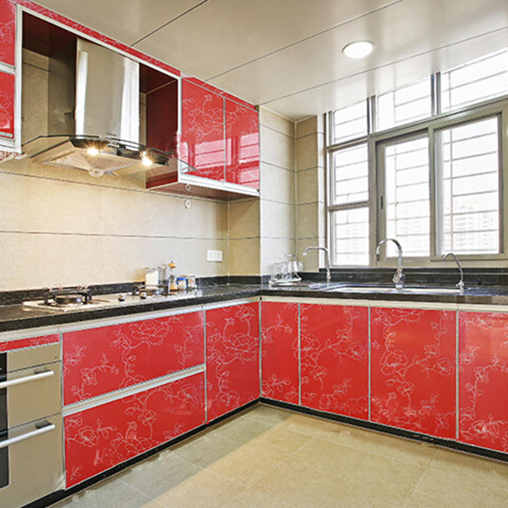 popular vinyl adhesive stickers buy cheap vinyl adhesive stickers yazi gloss red peony kitchen cupboard door cover waterproof self adhesive vinyl sticker shelf refurbished wallpaper