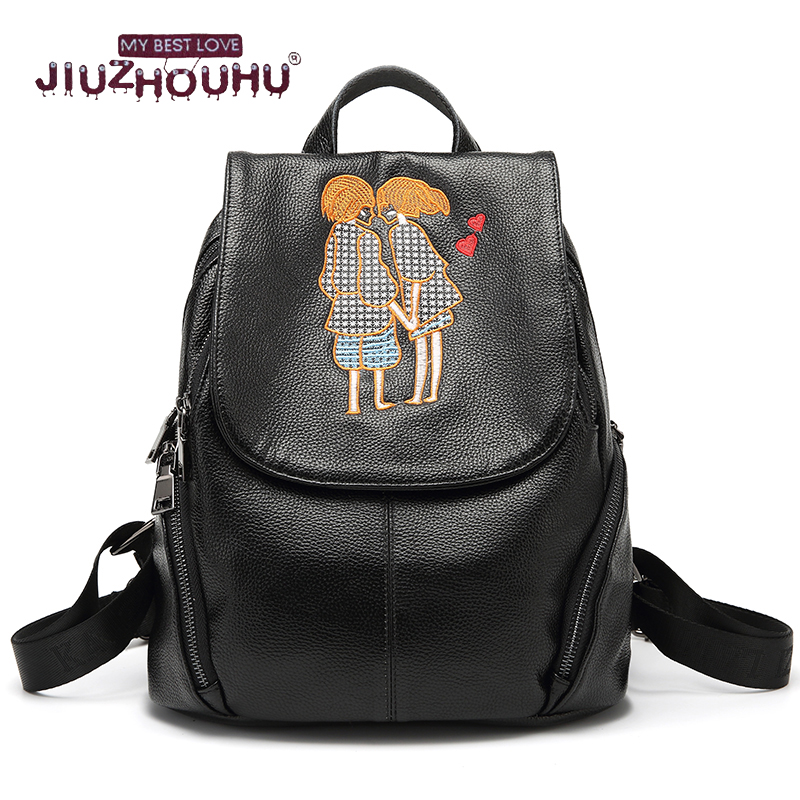 Cartoon Embroidery Women Backpack Ladies genuine leather back pack Travel Bagpack Female Sac A Dos Mochila Infantil Shoulder Bag women genuine leather backpack luxury soft solid large capacity school bag ladies travel backpacks sac a dos mochila 2017 new