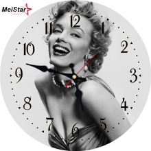 MEISTAR Vintage Round Clocks Figure Woman Design Silent Living Study Office Kitchen Decor Wall Art Watches Large Clock