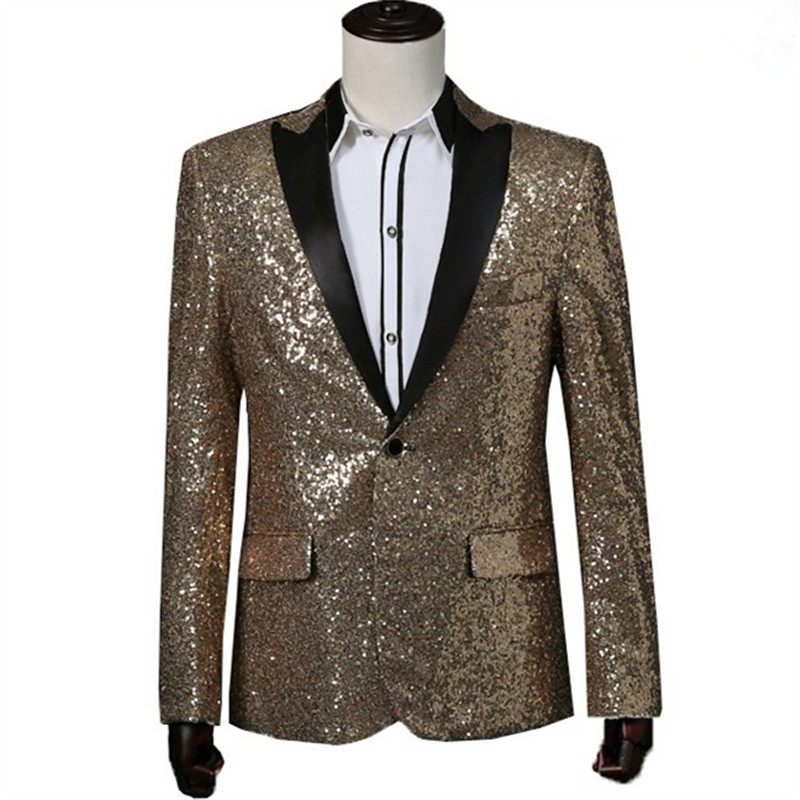 Mens Gold Sequined Blazer Red Mens Stage Jacket Silver Mens Sequin Jacket Royal Blue Mens Sequin Tuxedo ...