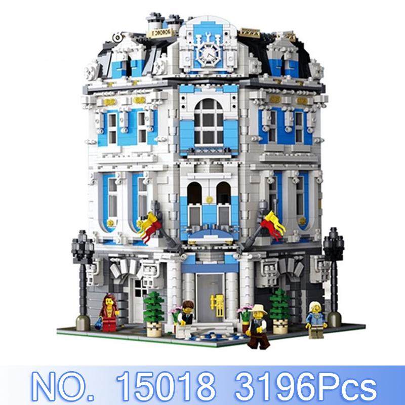 Lepin 15018 City Creator MOC Figures 3196Pcs Sunshine Hotel Model Building Kits Blocks Bricks Sets Kid Toys Compatible With Gift aiboully city 7014 7017 model the louvre in paris rome fontana di trevi building blocks sets bricks toys compatible with gift