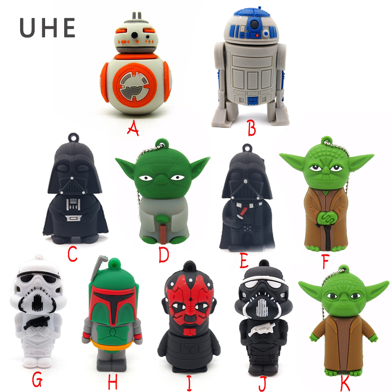 USB Flash Drive Star Wars Darth Vader Pen Drive 4GB 8GB 16GB 32GB 64GB Cartoon R2D2 Robot/BB-8 Memory Stick Creative Pendrive