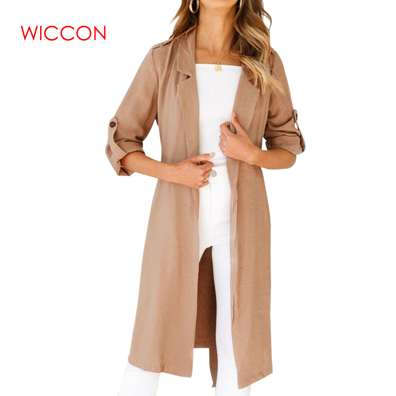 Women Long Coat Female Casual   Trench   Coat Long Sleeve British Style Overcoat Women Autumn Coat Office Ladies Wear