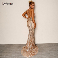 Joyfunear Tromba A Strisce di Estate Del Vestito Sexy Backless Profondo  Scollo A V Paillettes Maxi Vestito 2f342155833