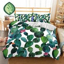 HELENGILI 3D Bedding Set Cactus Print Duvet cover set lifelike bedclothes with pillowcase bed home Textiles #2-7