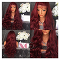 200% Density Top 8A Sexy Burgundy Color Lace Front Human Hair Wigs With Baby Hair Full Lace Human Hair Wigs With Baby Hair Curly