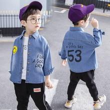 JMFFY/детская хлопковая рубашка на весну-осень для девочек рубашки для мальчиков повседневная детская одежда г. джинсовая модная одежда с длинными рукавами для малышей
