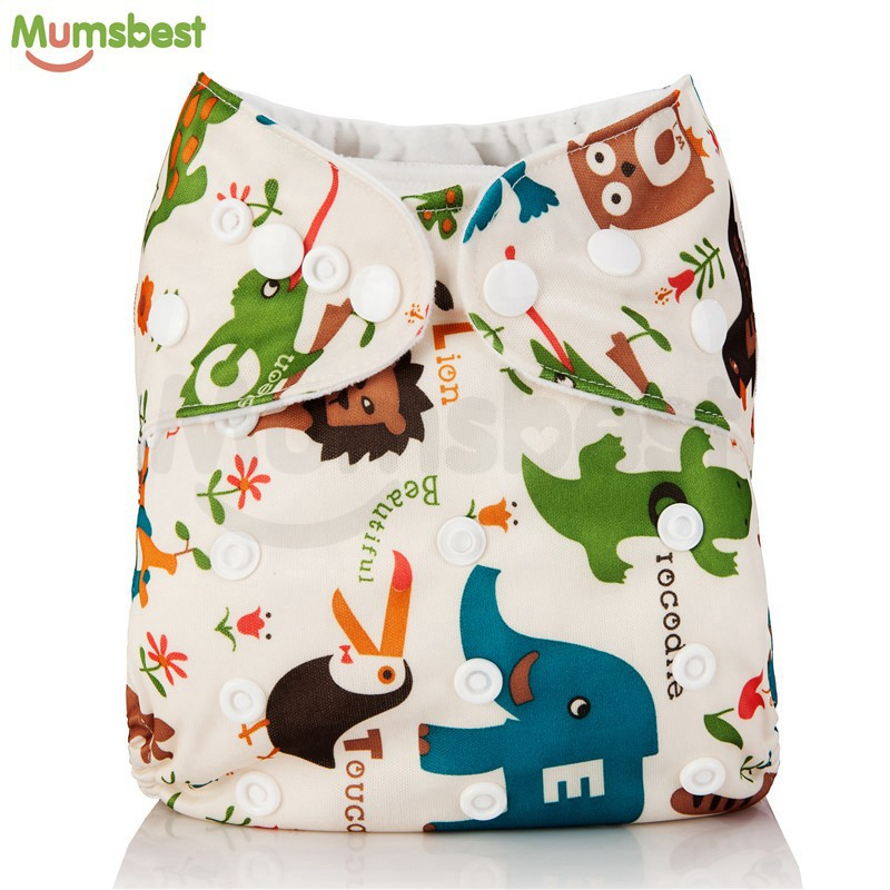 [Mumsbest] 2020 Washable Baby Cloth Diaper Pocket Waterproof Cartoon Owl Baby Diapers Reusable Cloth Nappy Suit 0-2years 3-15kg