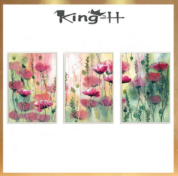Hand-painted oil painting f flowers 3 p thick knife painting acrylic coating or abstract classic adornment home sofa hall