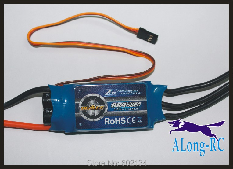 Free ship high quality ZTW AL60A(2-6s) brushless ESC-for RC airplane model/hobby plane/ spare part