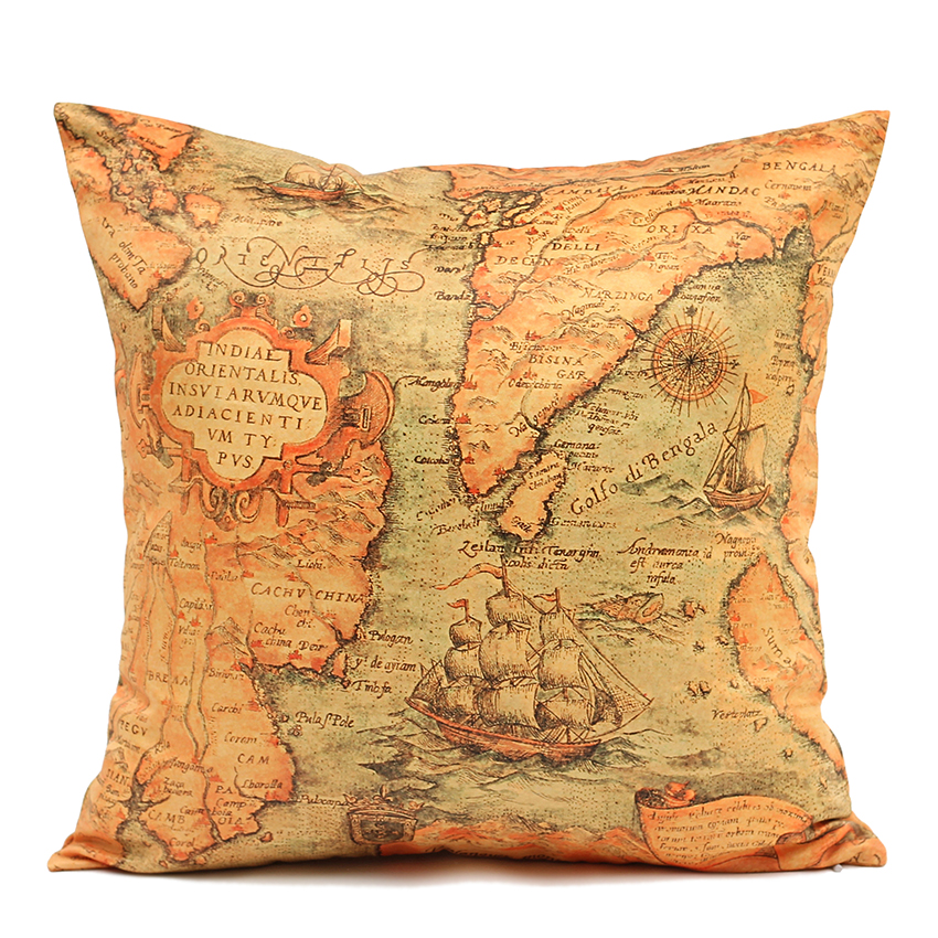 50cm 60cm sofa cushion cover map pillow covers cushion covers for sofa. Black Bedroom Furniture Sets. Home Design Ideas