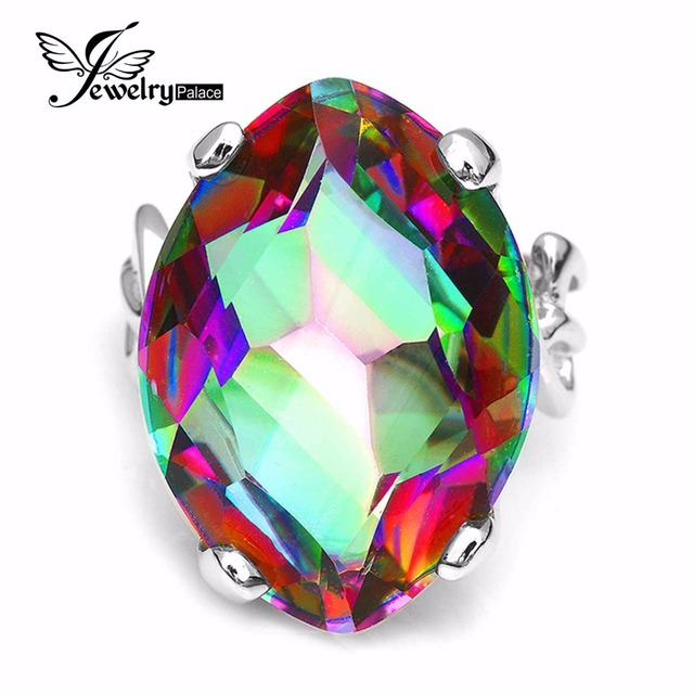 Huge 30ct Natural Rainbow Fire Mystic Topaz Genuine Solid 925 Sterling Silver Ring For Women Fashion Charm Luxury Fine Jewelry