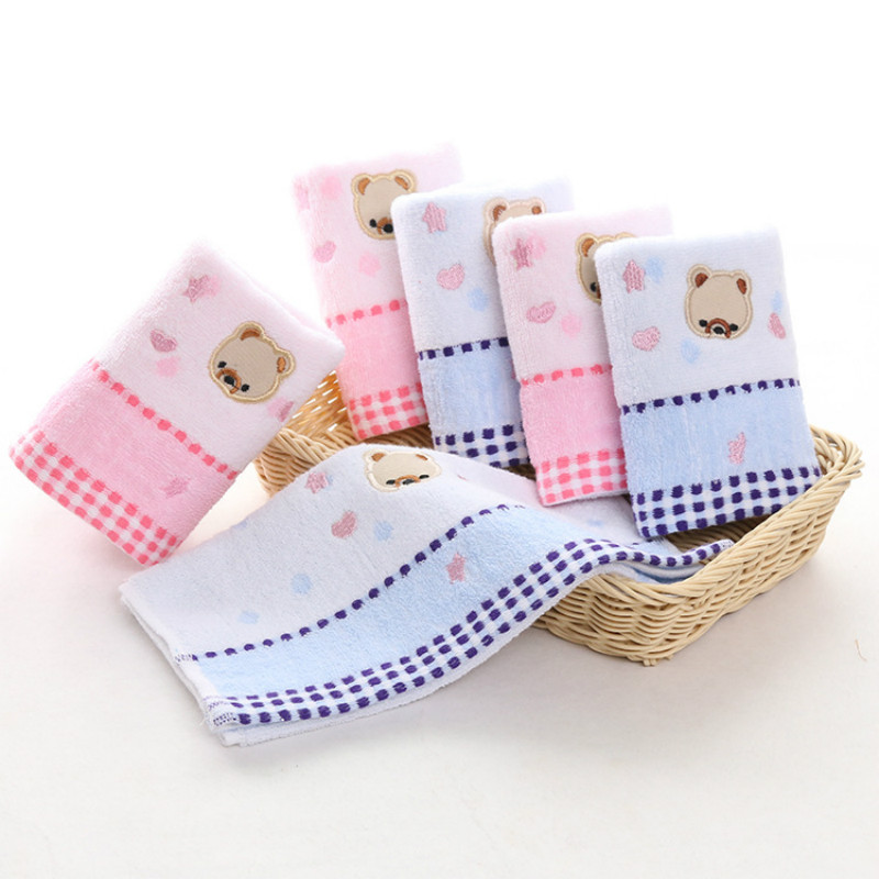 25*50CM Baby Cotton Towel Cartoon Bear Washcloth Handkerchief Multi-color Soft Newborn Face Towel Baby Absorbent Bathing Towel