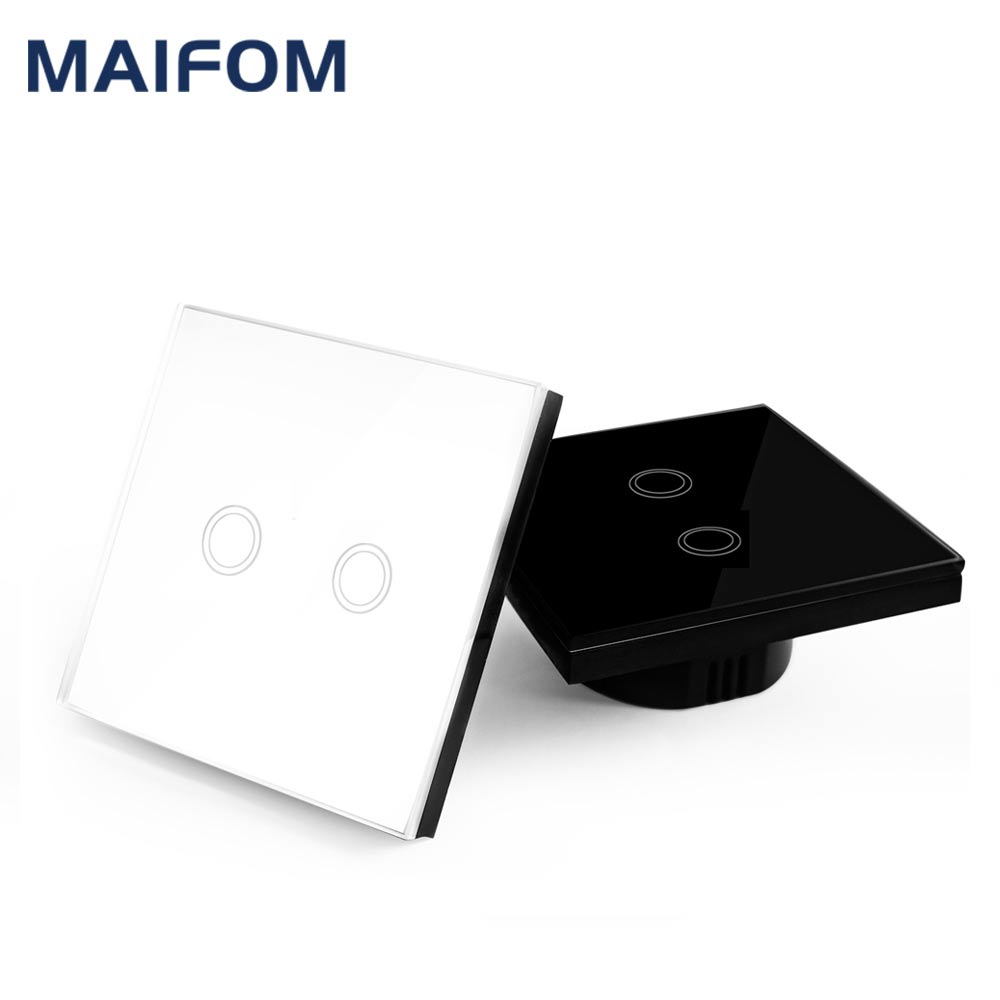 EU/UK Universal Wall Light Switch Touch Switch 110-220V Crystal Glass Panel Switch 2 Gang 1 Way Waterproof Touch Control smart home eu touch switch led wall light touch switch 220v 3 gang 1 way waterproof crystal tempered glass panel