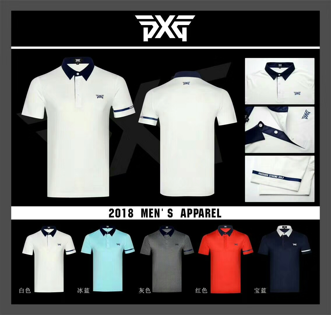 Golf clothes PXG T shirt Short sleeve mens Sportswear Short sleeve 5 colors S-XXL Outdoor leisure Golf shirt 2018 NEW new cooyute golf windbreaker v mens golf jackets long sleeve male golf clothing black colors xxl size golf