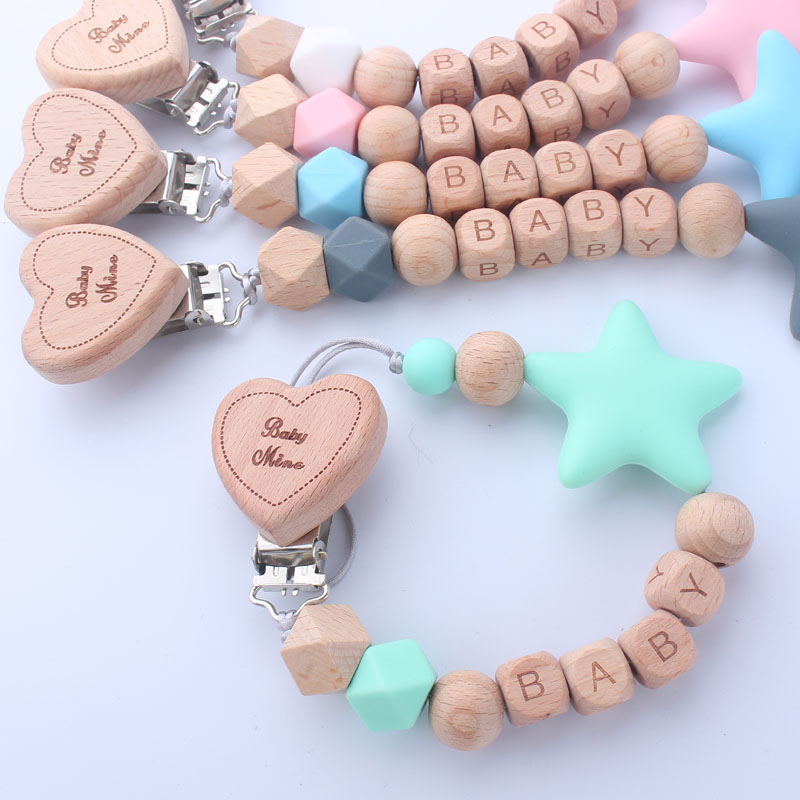 1PCS Personalized Name New DIY Beech Wooden Love Heart Dummy Clip Infant Baby Pacifier Clips Big Star Pacifier Chain Holder