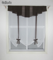 New Pleated Valance Design Stitching Colors Tulle Balcony Kitchen Window Curtain Sheer Wave Blinds 1PCS