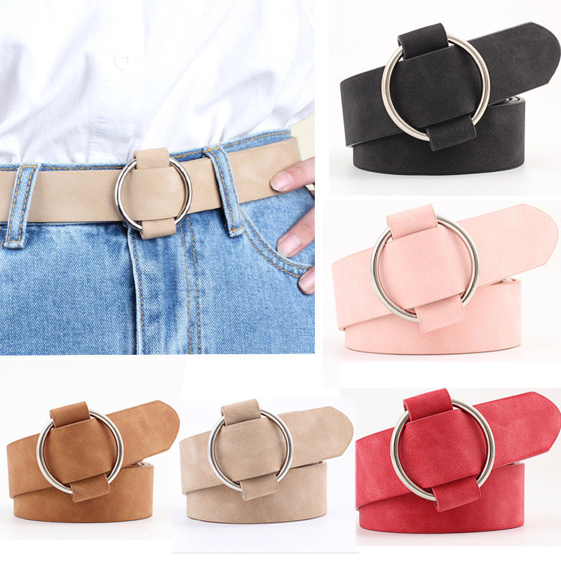 Women Lady Vintage Metal Boho Leather Round Buckle Waist Belt Waistband NEW