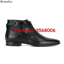 Real Black Snake skin Leather Mannen Gesp Lage Top Flats Schoenen Handgemaakte Man Chelsea Laarzen Slip-on Dress schoenen Maat 37-46(China)