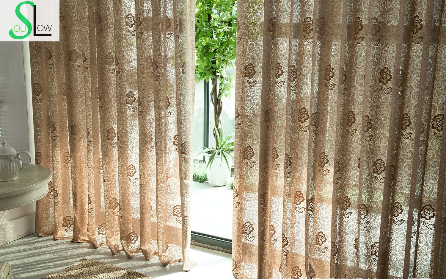 Us 16 25 35 Off Slow Soul Light Brown Cotton Roses Curtains Modern Pleated Europe Floral Tulle For Living Room Kitchen Bedroom Sheer Blinds In