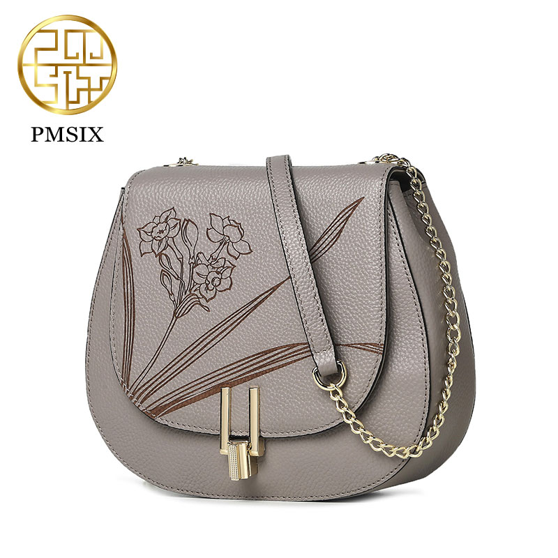 Pmsix 2017 spring and summer new fashion wild pig bag head layer cowhide carved saddle bag shoulder bag P210003 yier dan leather handbag new spring and summer 2016 head layer cowhide fashion simple embossed satchel bag singles