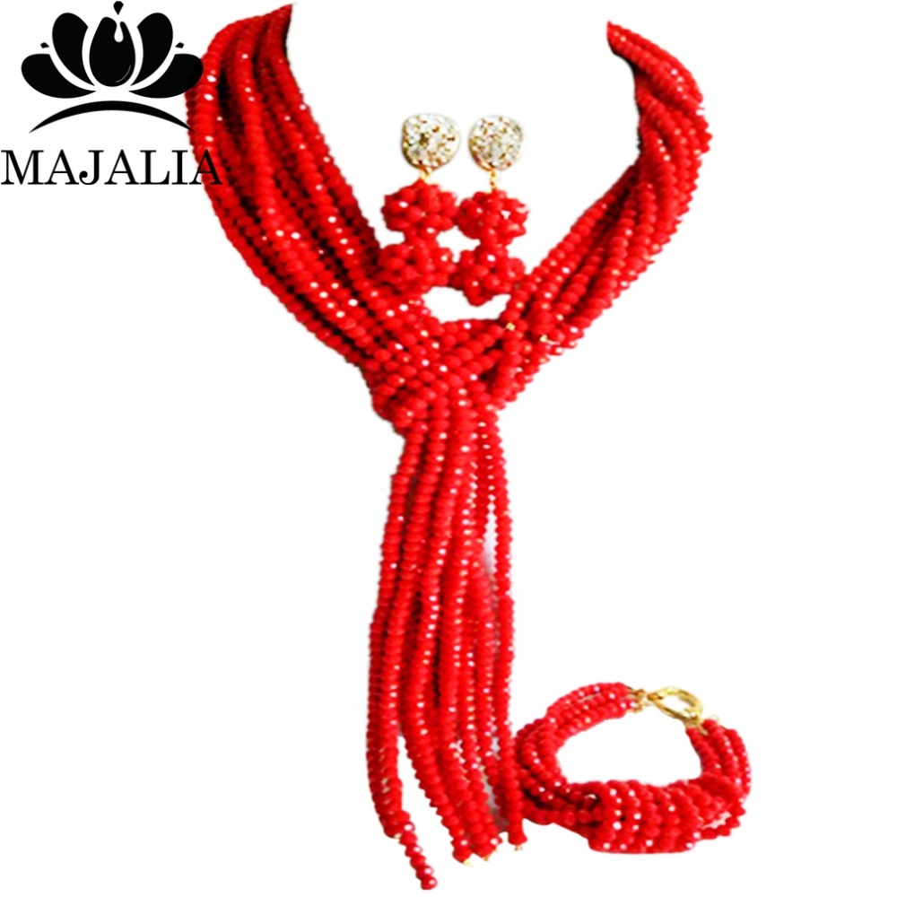 Majalia Classic Nigerian Wedding African Jewelery Set Opaque red Crystal Necklace Bride Jewelry Set Free Shipping 8JU08