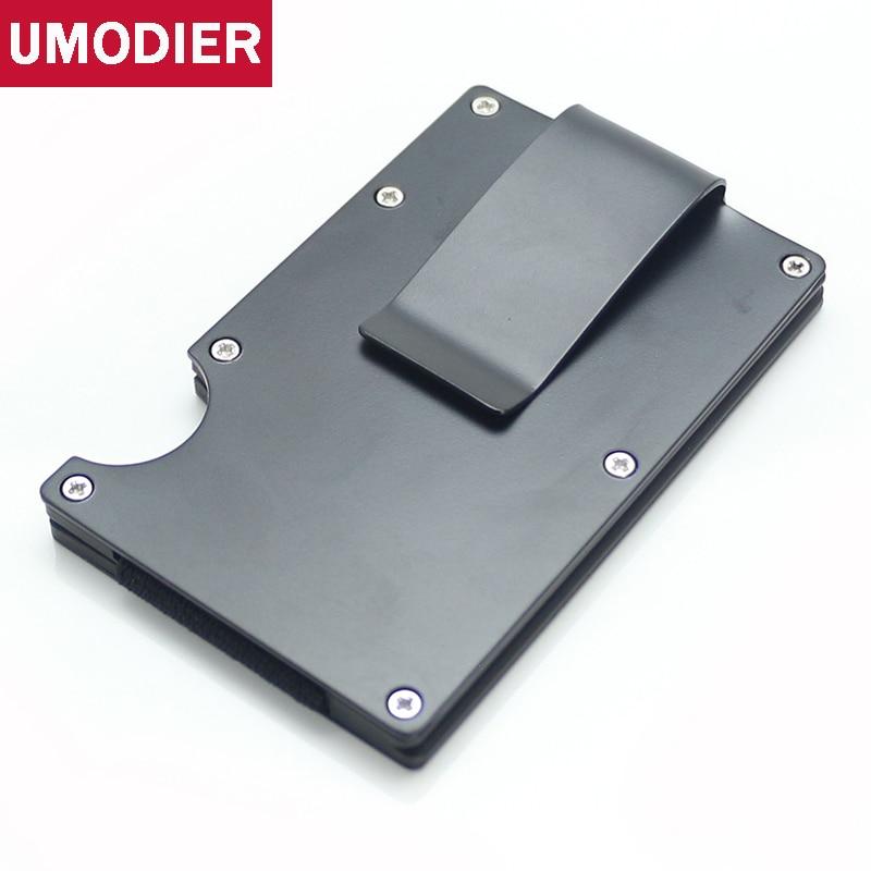 Алюминиевый держатель для кредитных карт UMODIER Man  металлический тонкий мини-кошелек с отделением для карт и зажимом title=
