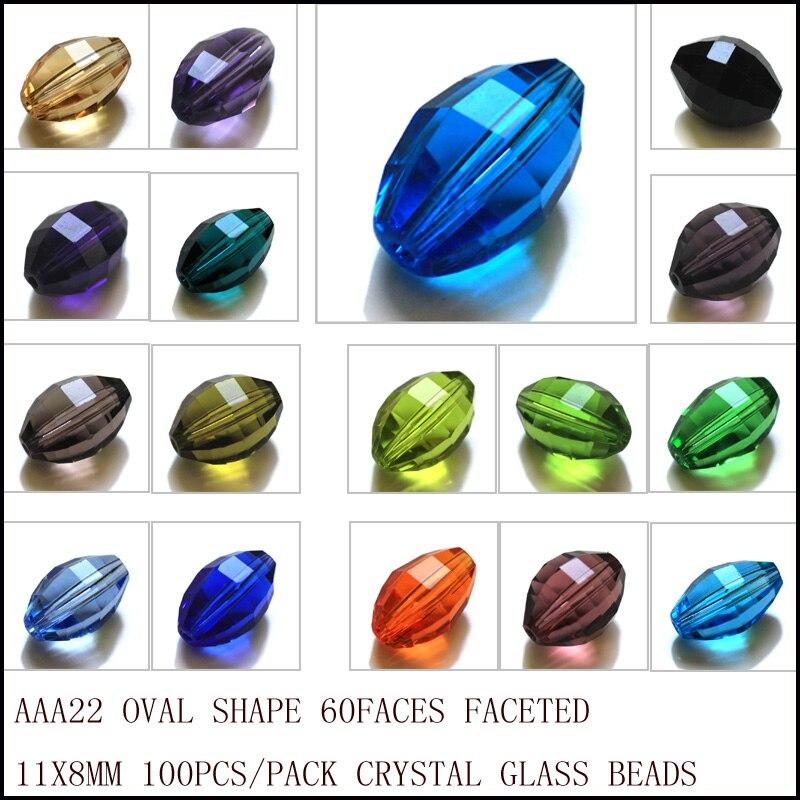 Frete Grátis 100 peças/lote 11*8mm Grânulos De Vidro De Cristal forma Oval Multi Cores Contas para fazer jóias AAA grau contas DIY