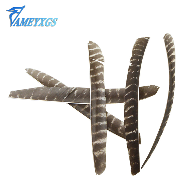 10pcs Archery Arrow Feather Full Length Real Turkey Feathers Spiral Wrap Natural Feather Right Wing #c