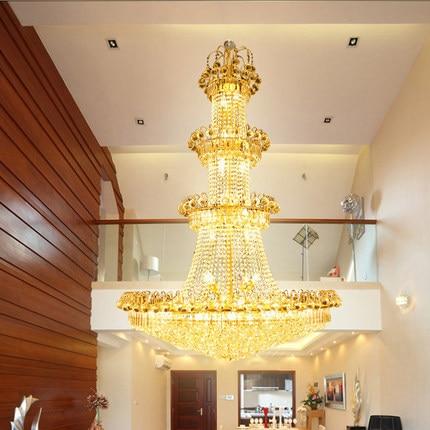 Modern Emas K9 Kristal Chandelier Lampu Fixture Foyer Tangga Cara - Pencahayaan dalam ruangan - Foto 2