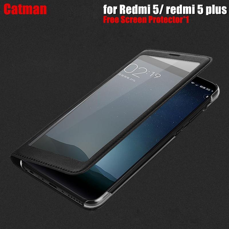 Xiaomi redmi 5 caso di lusso piena vista finestra di Plastica di lusso PU cuoio di vibrazione della copertura fonda xiaomi redmi 5 plus copertura casi