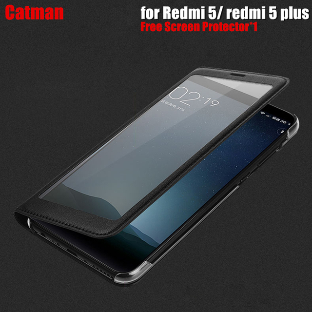 huge discount 93b90 91e73 US $4.99 |xiaomi redmi 5 case luxury full view Plastic window luxury PU  leather flip cover funda xiaomi redmi 5 plus cover cases-in Flip Cases from  ...