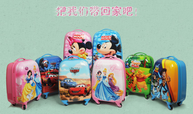 Now 2015 Cartoon mickey princess travel bag kids rolling luggage ...