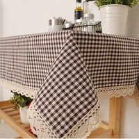 Tischdecke Karierten Braun Rosa Tisch Abdeckung Spitze Rand Esszimmer Baumwolle Leinen Tischdecke Hochwertigen Heimtextilien manteles