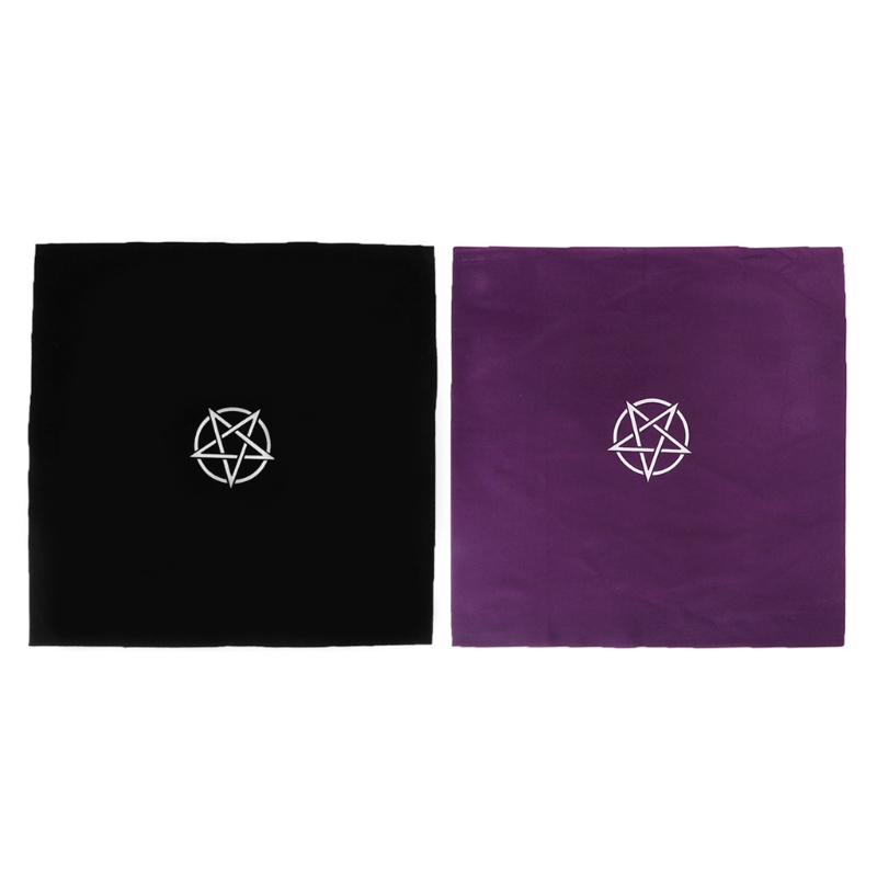 49x49cm Pentacle Tarot Tablecloth Flocking Fabric Astrology Constellation Board Game