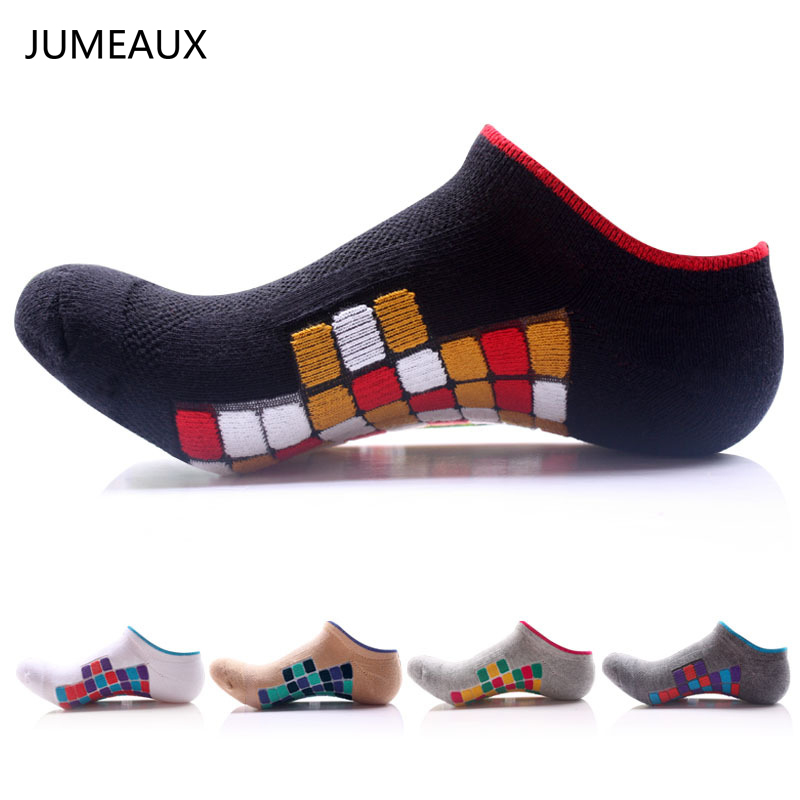 JUMEAUX 2017 Mixed Colors Grid Men Socks Cotton Polyester Ankle Socks Autumn Winter Fashion Socks For Man