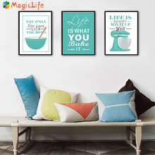 Modern Kitchen Posters and Prints Life Quote Wall Art Canvas Painting Nordic Poster Decorations Wall Pictures Unframed