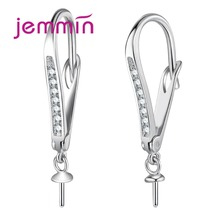 925 Sterling Silver Geometric Shape Earrings Components Accessory For Handmade Jewelry Rhinestone Hooks Earwire Findings cheap Jemmin 925 Sterling NONE Third Party Appraisal Women Fine TRENDY Diamond Earring Findings Hoop Earrings