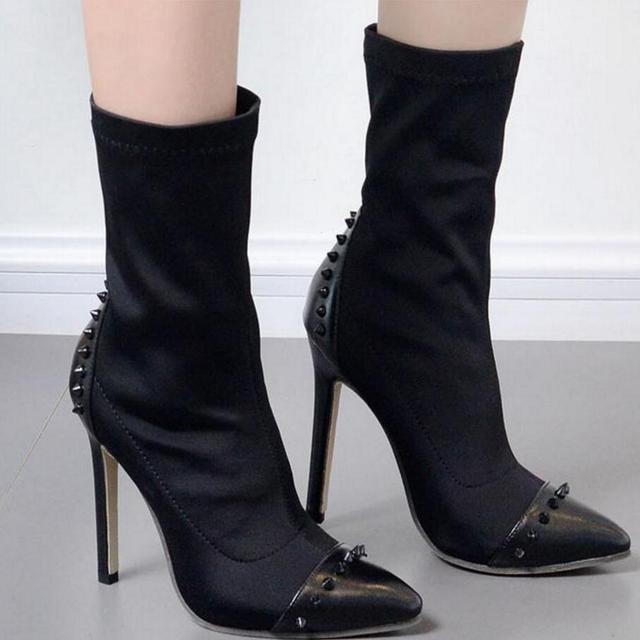 199ea35bc0c 2018 botas com pregos mulheres marca brilho meia botas mulheres botas de inverno  bota feminina sexy