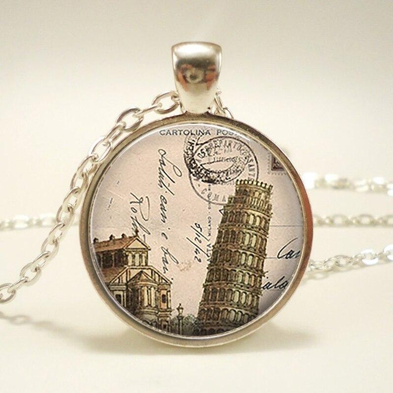 Steampunk Italy Pisa Tower Pendant Vintage Postcard Glass Necklace Women Fashion Jewelry Travel Memento Birthday Gift Round Dome
