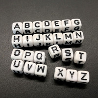 100pcs 6mm Letter Beads Square 26 Alphabet Beads White Acrylic Beads DIY Jewelry Making For Bracelet Necklace Accessories